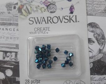 Swarovski Xilion Bicone Metallic Blue 4mm Beads 28pc Jewelry Supplies