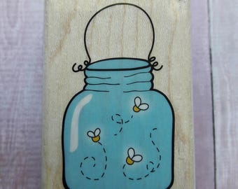 Jar Of Fireflies Wood Mounted Rubber Stamp Scrapbooking & Paper Craft Supplies
