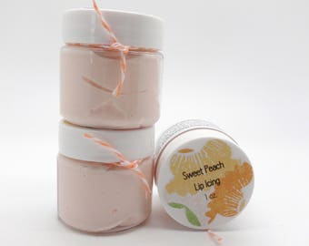 Sweet Peach Lip Butter, Lip Balm, Lip Icing 1 oz Jar