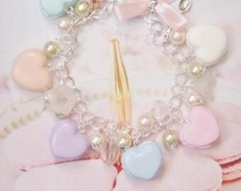 bracelet macaroons heart polymer clay