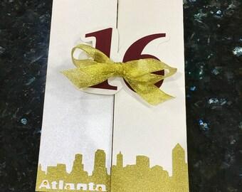 Sweet 16 Birthday Party Invitations with Atlanta Skyline Pictured  • Birthday Party Invitations • with matching envelopes