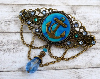 Hair barrette with anchor motif in blue turquoise bronze maritime hair jewelry polymer clay sea seafaring gift for her girl gift idea