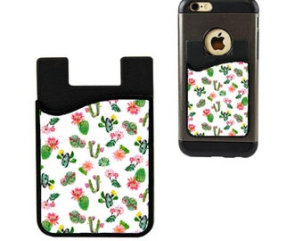 Cell Phone Caddy/Cell Phone Case/Cactus Credit Card Holder/Debit Card Holder/Cell Phone Pocket/Student ID Holder/Blooming Cactus Card Holder