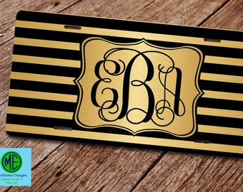 Custom License Plate. Monogram License Plate Frame. Front Car Tag.Gold and Black License Plate. Modern License Plate. Gold and Black Car Tag