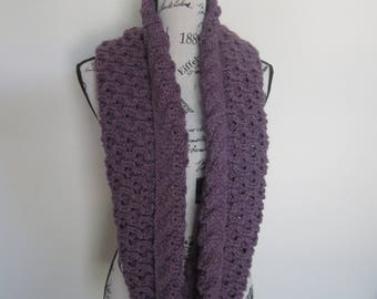 Hand-Knitted Dusty Lavender Infinity Scarf
