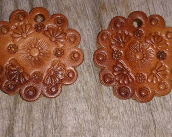 Hand Tooled Leather Saddle Conchos Stamped Leather Leather Components Earring Components Jewelry Components Drop Dangle Earrings