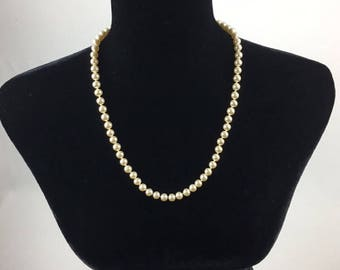 Vintage Hand Knotted Faux Pearl Single Strand Matinee Length 24 inch Necklace