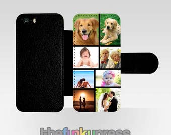 Personalised Photo Collage Phone Case Flip Folio PU Leather For Apple iPhone