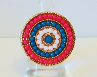 Unique Turquoise Coral and White Large Rounded Beaded Gold Tone Fashion Ring Adjustable Band