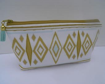 Essential oil zipper pouch, young living, oil organizer, oil travel bag, gold aztec on white