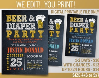 Beer and Diapers Party, Baby Shower, Couples Shower Invitation / DIY / Chalkboard