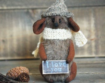 Miniature Mouse-Handmade mouse-Whimsical mouse-Country Mice Decorations-Cute figurine-Mouse gift-Gift ideas-Fall decor