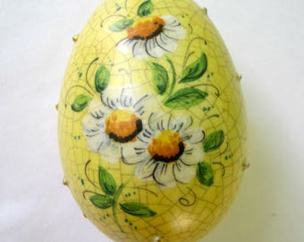 Vintage Veneto Flair Easter Egg Handmade Yellow Ceramic 1977 Made In Italy Home Decor