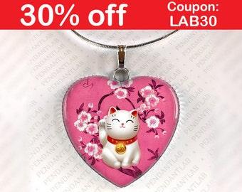Pink Maneki Neko Pendant, Maneki Neko Necklace, Lucky Cat Jewelry, Beckoning Cat Charm, Talisman, Japan, Japanese, Welcoming Cat, Fortune