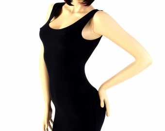 Little Black Dress LBD Lycra Spandex Soft Knit with Scoop Tank Neckline Bodycon Clubwear Date Night  151517