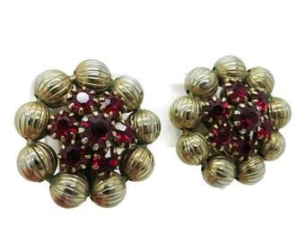 Ruby Rhinestone Earrings, Vintage Weiss Earrings, Red and Gold Tone Clip-on Earrings