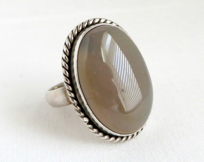 Vintage Quartz Ring, Sterling Silver Ring, Braided Oval Ring, Statement Ring, Brown Stone Ring, Unique Ring, Gift For Her
