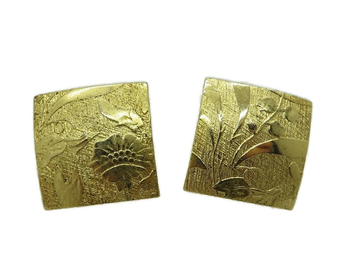 Embossed Square Earrings, Vintage Gold Tone Clip-on Earrings, Costume Jewelry Gift Idea