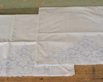 Pillowcases, Pair of Vintage Linen Blue Embroidered and Cutwork Pillowcase set