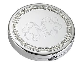 Round Silver Personalized Compact Mirror with Crystal Accents with Interlock Monogram Wedding Favors and Bridesmaid Gifts FC122