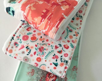 Baby Burp Cloths ~ Cloth Diaper Burp Cloths ~ Art Gallery ~ Recollection ~ Shabby Chic Nursery ~ Coral Mint Nursery