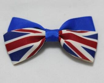 1 pieces,Grosgrain Bows, 3 inch, British flag, boutique hair bows,hair clips,girls hair bows, infants, kids