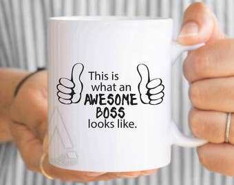 """Boss gifts, christmas gifts, """"this is what an awesome boss looks like"""" funny coffee mugs, boss appreciation, male boss gift idea MU489"""
