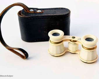 Vintage 1960s Soviet Small Brass and Ivory Bakelite Theater Opera-Glasses Theatrical Binoculars with Original Leather Case. Made in USSR