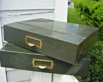 Vintage Metal Magazine File Box, Vertical File, Stack-able metal file box, Vintage Industrial, Vintage Office Furnishing, Metal File Box
