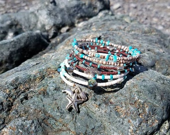 Spring wrap bracelet with shell beads and abalone beads and beach beads