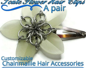 Scale Flower Hair Clips | a pair of clips | Custom Colored Handcrafted Hair Accessory