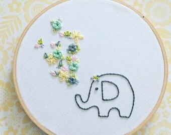 elephant embroidery . nursery wall hanging . housewarming . good luck . wisdom . strength . prosperity . success . 7 inches . 25 dollars