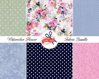 WATERCOLOR FLORAL Fabric Bundle by the Yard, Fat Quarter Bundle Sage Pink & Navy Blue Fabric 100% Cotton Quilting Fabric Apparel Fabric Kit