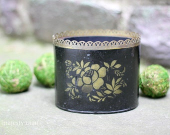 Metal Oval Decorative Container. Vintage. Black, Gold. Floral. Brass Eyelet Trim. Home Decor. Office. Planter. Bin. Deco. Italy. Old World.