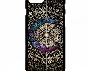 Crescent moon mandala star oriental floral flower ornate graphic print pattern cover for iphone 4 4s 5 5s 5c 6 6s 7 plus SE phone case