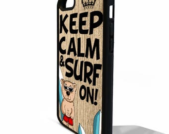 Keep calm and surf on surfing board quote phrase art rubber gel silicone phone case cover for iphone 5 5s SE 5C 6 6s 7 plus