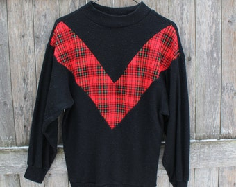 Black And Red V Plaid Sweater