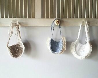 Handmade crocheted crochet knit baby girl bibs - Fringe lace trim - Boho / Bohemian - Baby shower gift