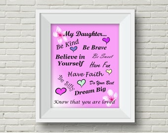 Daughter Wall Art,Daughter Picture,Daughter Wall Hanging,Baby Shower Gift,Girl Baby Shower,Girl Room Decor,Daughter Birthday,Child Wall Art