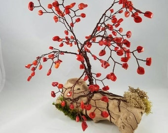 """Red """"coral"""" wire tree"""