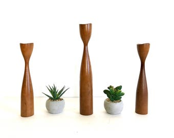 Set of three Mid Century Danish Modern Wooden Candle Holders - Candle Sticks  - Teak - Walnut