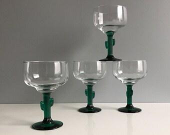 Cactus Margarita Glasses - Set of 4
