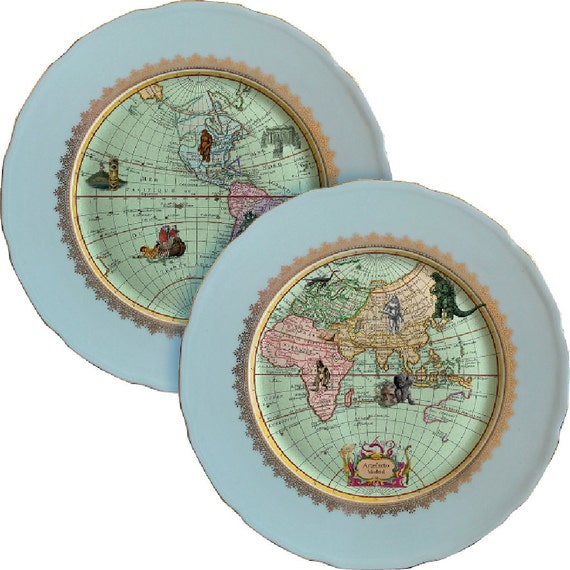 Duo Mysterious World - Vintage Porcelain Plate - #0374