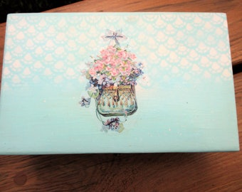 Handpainted and Decoupage Cottage Chic Trinket Box