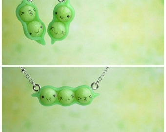 Kawaii/ Cute Peas in a Pod, Earrings OR Necklace