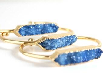 Blue quartz bracelet - blue druzy bracelet - raw stone bracelet - geode bracelet - bridesmaid bracelet - druzy bracelet -boho bracelet -cuff