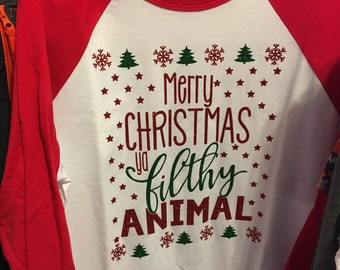 Merry Christmas ya Filthy Animal Glitter Baseball Style Tshirt