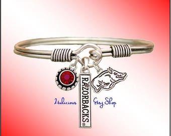 ARKANSAS RAZORBACKS Bangle BRACELET University College Jewelry Red Crystal Charms Silver Pendants
