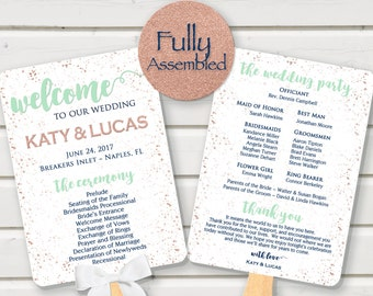 Wedding Program Rose Gold Mint Navy Fan Confetti FULLY ASSEMBLED Ceremony Fan Programs Paddle order of events fun