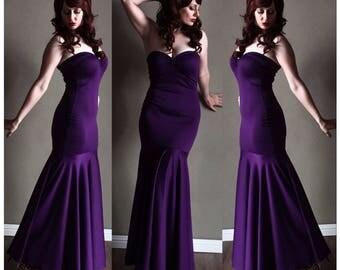 Vintage Plum Strapless Bridesmaid Jessica Rabbit 50s Style MERMAID Dress, Long Bridesmaid Dress,  Mod Prom Punk Rockabilly Wedding